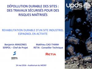 Dépollution durable d'un site industriel espagnol en activité - SERPOL et RETIA - 2016