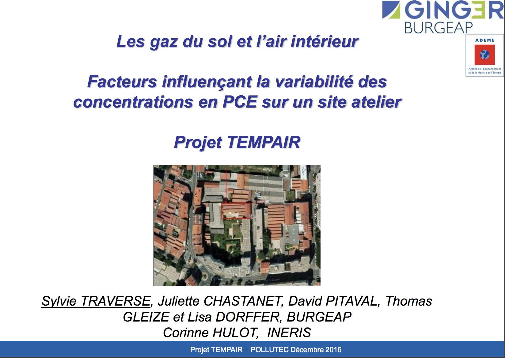Facteurs influençant les variations de concentrations en tétrachloroéthylene dans les gaz du sol et l'air intérieur d'un site atelier - BURGEAP - 2016