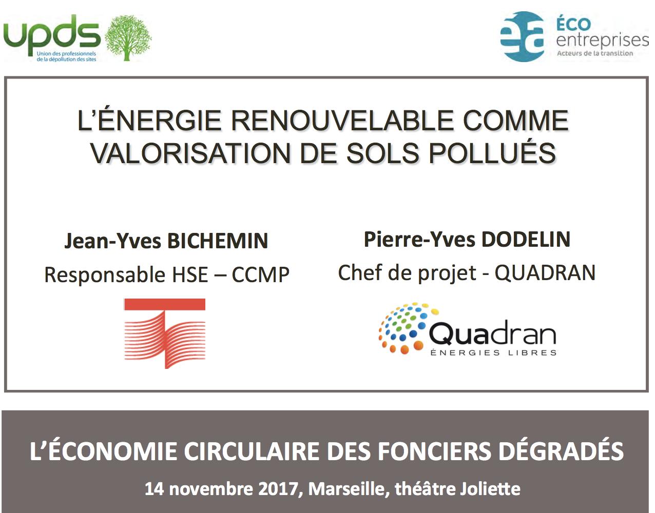 L'énergie renouvelable comme valorisation de sols pollués - QUADRAN - 2017