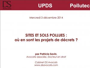 Sites et sols pollués - où en sont les projets de décrets_ - CDAE - 2014