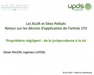 Propriétaire négligent de la jurisprudence à la loi présentation d'Olivier RAJON, UPDS - SERPOL - 2015