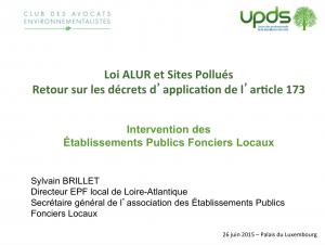Intervention des Etablissements Publics Fonciers Locaux