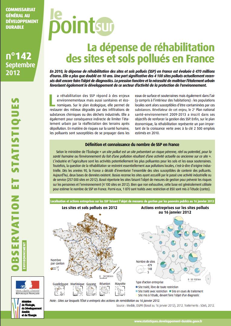 La dépense de réhabilitation des site et sols pollués en France - CGDD - 2012