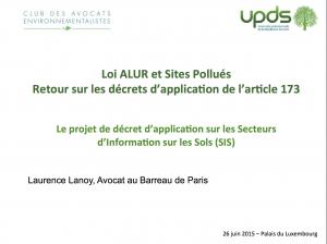 Le projet de décret d'application sur les Secteurs d'Information sur les Sols (SIS)