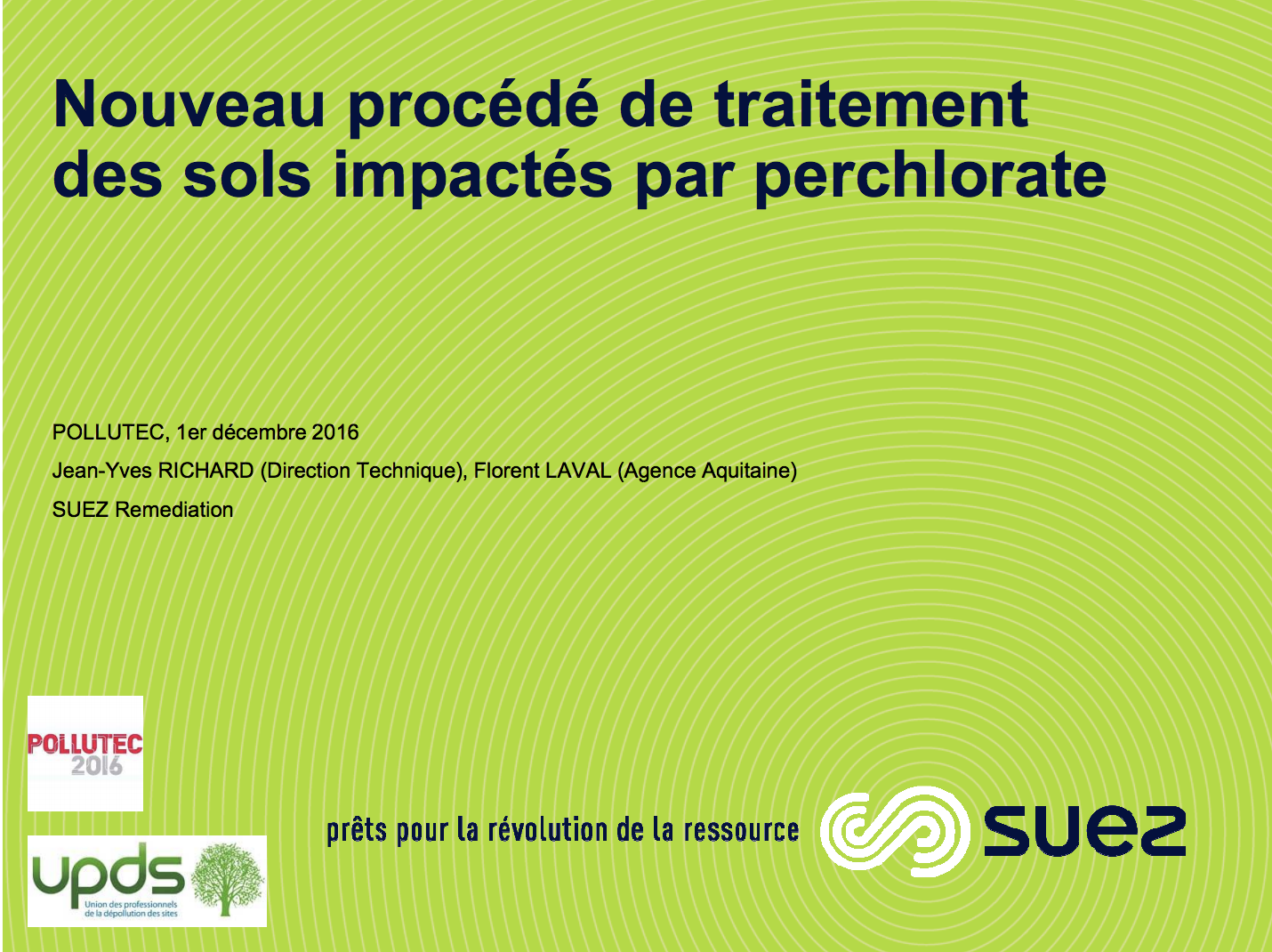 Nouveau procédé de traitement des sols pollués par perchlorate - SUEZ - 2016