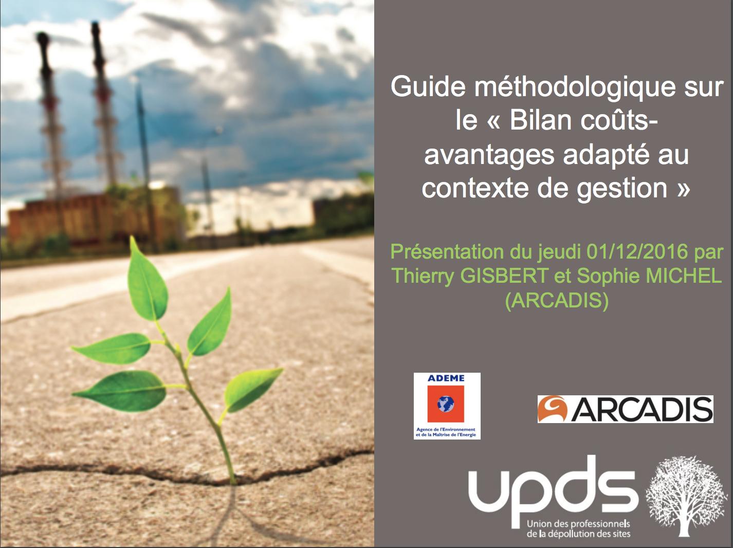Présentation du guide sur le Bilan Coûts Avantages - UPDS, ARCADIS - 2016